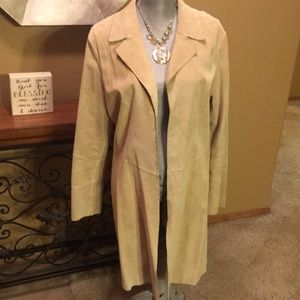 Coldwater Creek Genuine Leather tan Coat Size L